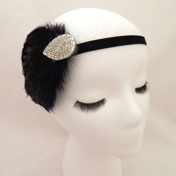 The Elsie - 1920s black and silver feather headband, 20s halloween costume, feather headpiece, roaring twenties costume hairpiece