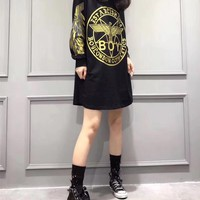 """Boy London"" Personality Eagle Letter Pattern Print Long Sleeve Medium Long Section T-shirt Mini Dress"