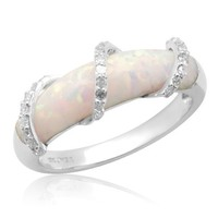 10k White Gold Created Opal with Diamond Wrap Ring