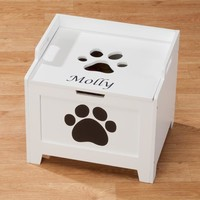 Personalized White Paw Wooden Toy Box - Pet Toys & Supplies - Home & Pets - Miles Kimball