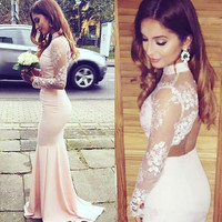 High Neck Long Sleeve Mermaid Prom Dresses