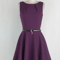 Mid-length Sleeveless Fit & Flare Luck Be a Lady Dress in Violet