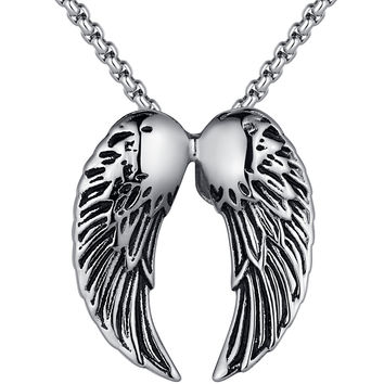 Stainless Steel Angel Wing Pendant Necklace