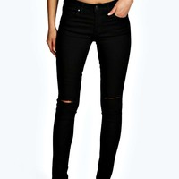 Rhea 5 Pocket Low Rise Slit Knee Jeans