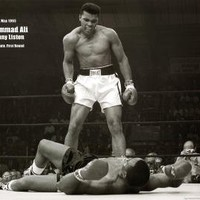 Muhammad Ali (Vs. Sonny Liston) Sports Poster Print - 24x36 custom fit with RichAndFramous Black 36