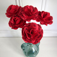 """Valentine's Day Red Paper Roses With Personalized Print  Customize for Birthday, Wedding, Anniversary 4"""" Rose with 16"""" Stem Set of 6"""