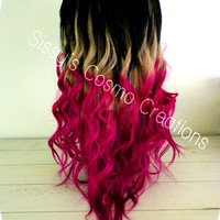 """12"""" Ombre Dip Dye Clip In Human Hair Extensions Pink Purple Blonde Magenta Delight"""
