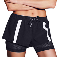 Black Drawstring Waist Running Sport Shorts with Lining