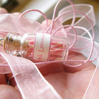 Pink Lemonade Candy Jar Necklace Pink White Yellow by starfirewire