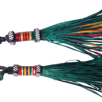 Green Leather Tribal Tassels, Pair