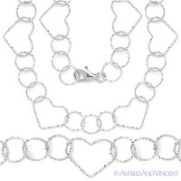 .925 Sterling Silver 15mm Heart & 11mm Circle Charm Link Chain Italian Necklace