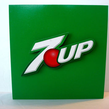 7-Up Soda Pop Wall Art - Game Room, Children's Room Decor - Unique Handmade Lemon Lime Soda Pop Culture Art