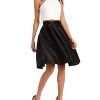 Black Pleated Taffeta Midi Skirt by Charlotte Russe