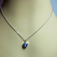 Swarovski Blue Crystal Silver Necklace, Mothers Day Gifts, Mom Sister Grandmother Jewelry, Wedding Cocktail Jewelry, Simple
