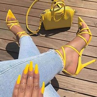 Hot Selling Ladies'Sandals Summer New Sharp-Headed Fish-Mouth Cross-Strap Slender High-heeled Shoes Large Size