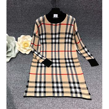 BURBERRY Autumn Winter Fashion Women Classic Plaid Long Sleeve Dress