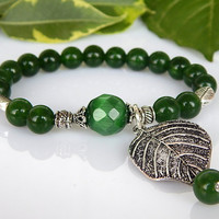 Green Jade Bracelet, Cat's Eye Bracelet, Gemstone Crystal Healing Beaded Bracelet - FREE SHIPPING