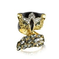 Roberto Cavalli Designer Rings Fox Brass and Crystal Ring