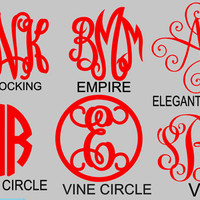 Custom Monogrammed Vinyl Decals  for water bottles, wine glass, laptop, coffee mugs - Personalized Vinyl Stickers - STICKERS ONLY
