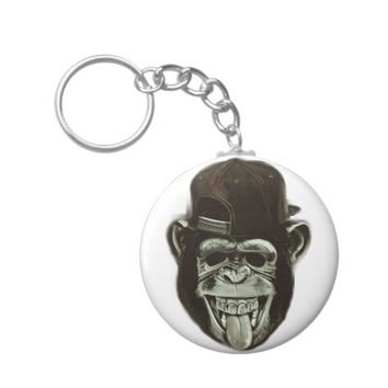Hipster Monkey Basic Round Button Keychain