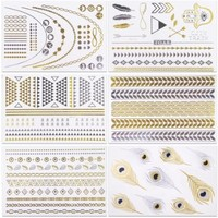 V.T Metallic Tattoos (HUGE 6 SHEETS PACK) - MOST POPULAR DESIGNS (more than 50 tattoos!) - Gold Silver & Black Body Temporary Metallic Tattoos - Bling Inspired - Long Lasting Trendy Tattoo Designs ...
