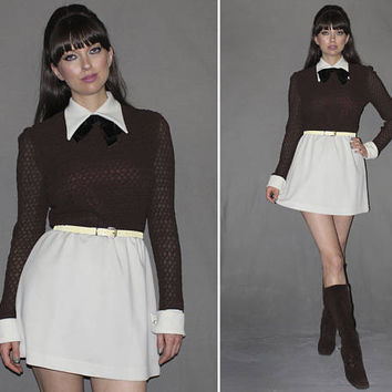 Vintage 60s MICRO MINI DRESS / Mod, Go Go Dress / Dark Brown + White / Pointy Collar / Sheer Sleeves / Med Large