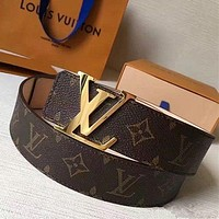 Louis Vuitton LV tide brand men and women classic logo smooth buckle belt