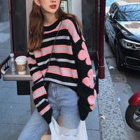Women Multicolour Flower Personality All-match Stripe Fashion Letter Logo Knit Long Sleeve Sweater Tops