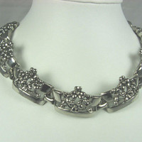 Vintage Silver Tone Raised Textured Choker Necklace