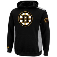 Majestic Boston Bruins Youth Hat Trick Pullover Hoodie - Black/Ash