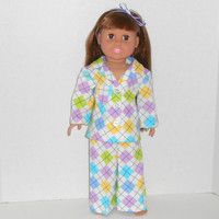 18 inch Doll Lavender and Yellow Argyle Print Flannel Pajamas fits AG doll