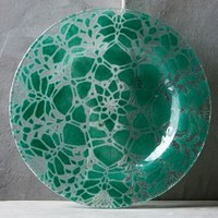 Kicking Glass by Sheree Blum Frosted Doily Dessert Plate in Green Size: Dessert Plate Dinnerware