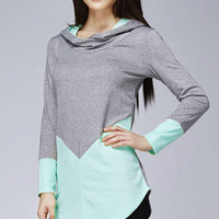 Hooded Color Block Tunic - Mint and Gray