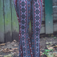 Aztec Flares in Burgundy