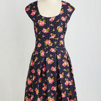 Long Short Sleeves Fit & Flare Repondez S'il Vous Pleat Dress by ModCloth
