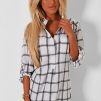 Lillith White Grid Print Top | Pink Boutique