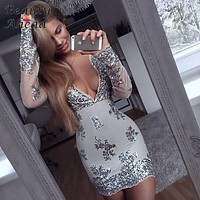 2016 Fashion Women Long sleeve sequined dresses casual Sexy V neck Gold ladies Sequined Stitching dress 5 color High quality