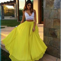 Pure Color High Waist Flared Maxi Skirt