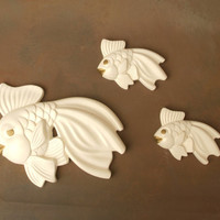 Vintage Miller Chalk Fish Wall Plaques, White and Gold Fish Family by Miller Studio Inc. 1971 Chalk-ware