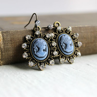Crystal-Studded Blue Cameo Dangle Earrings in Antique Gold - Victorian-Inspired Handmade Jewelry - Small Earrings - Ready to Ship