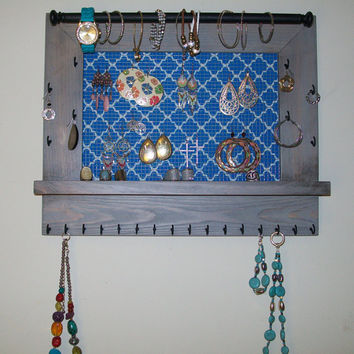 Jewelry Organizer-Wall Hanging Jewelry Display-Earring Display-Jewelry Organization Frame With Shelf-Necklace Holder/Jewelry Storage Display