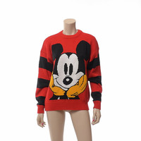 Vintage 80s Walt Disney Mickey Mouse Graphic Sweater 1980s Mickey Novelty Face Disneyland Character Mens Womens Unisex Sweater / S