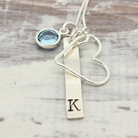 Bar necklace, Sterling Silver Initial birthstone necklace, open heart necklace, birthday gift for her, hand stamped jewelry
