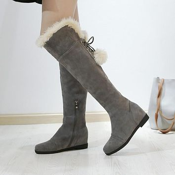 Woman's Fur Wedges Tall Boots