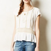 Channeled Lace Peplum Top by Meadow Rue Ivory