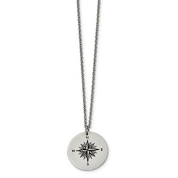 Stainless Steel Enamel THOSE WHO WANDER Compass Necklace