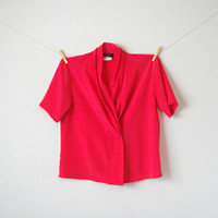 Vintage. Bright Pink Short Sleeve Blouse. Top. Draped Cowl Neckline. Double Breasted. Silky. Button Up. Hipster. Retro. Medium M Petite