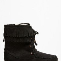 Soda Black Fringe Moccasin Lace Up Boots @ Cicihot Boots Catalog:women's winter boots,leather thigh high boots,black platform knee high boots,over the knee boots,Go Go boots,cowgirl boots,gladiator boots,womens dress boots,skirt boots.