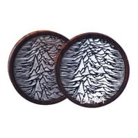 """1 & 5/16"""" (34mm) Black and White Pulsar in Zebrawood Plugs #3753"""