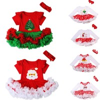 New Adorable Christmas Baby Girls Outfits Santa/Stocking Romper Tutu Dress+ headband Set